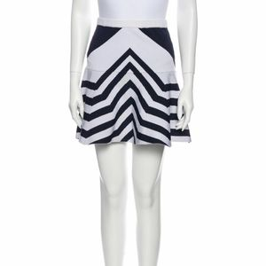 Parker flare mini skirt blue and white stripes
